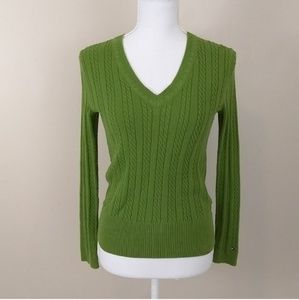 Tommy Hilfiger Ribbed v-neck green sweater small
